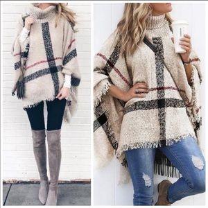Sweaters - NWT. Beige turtleneck plaid poncho 🍁🍂